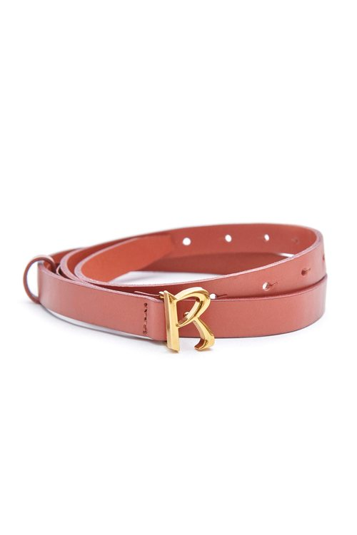 Classic small R leather belt