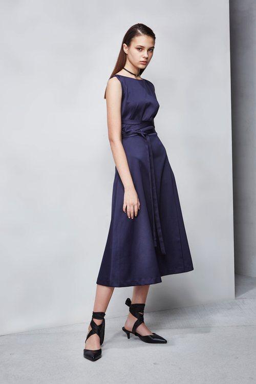 Cross ribbon blue satin dress