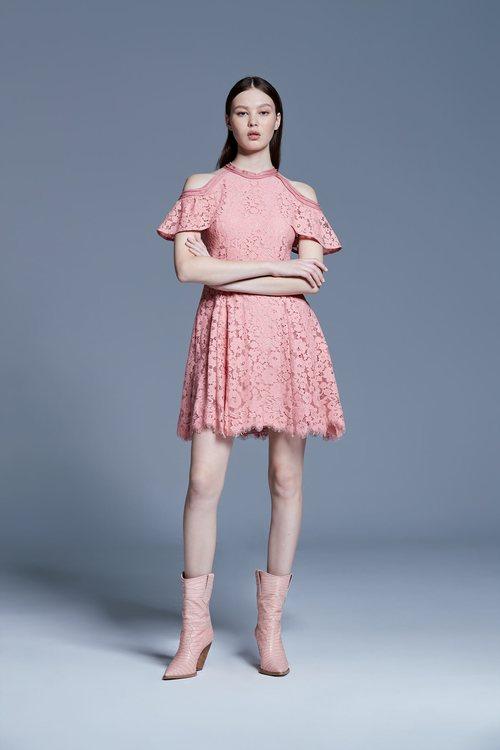 Pink lace off-shoulder short dress