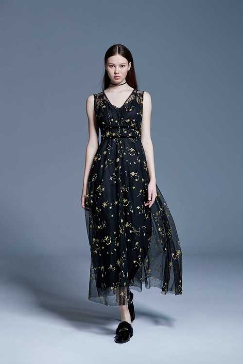Gold line embroidered dress
