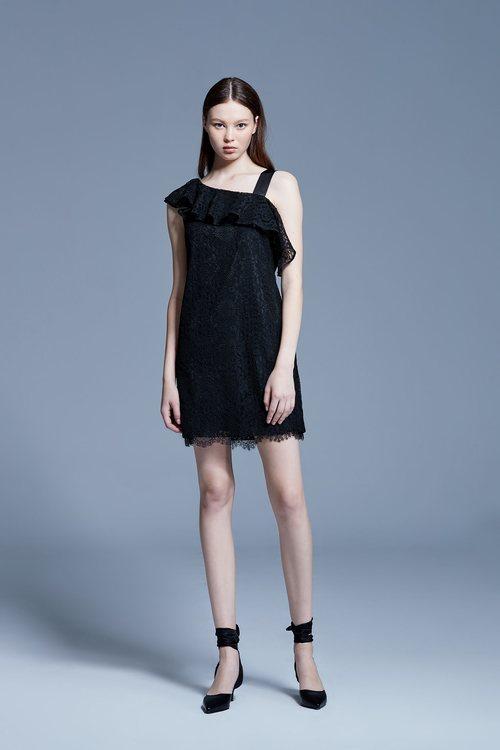 Lotus collar lace dress
