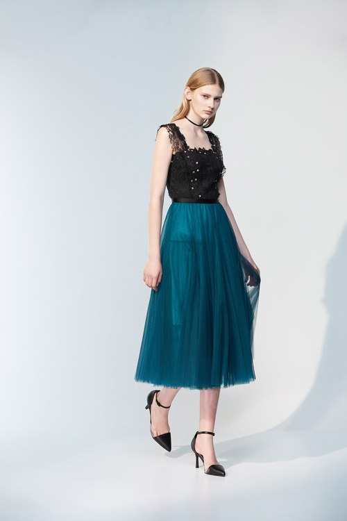 Turquoise tulle long dress