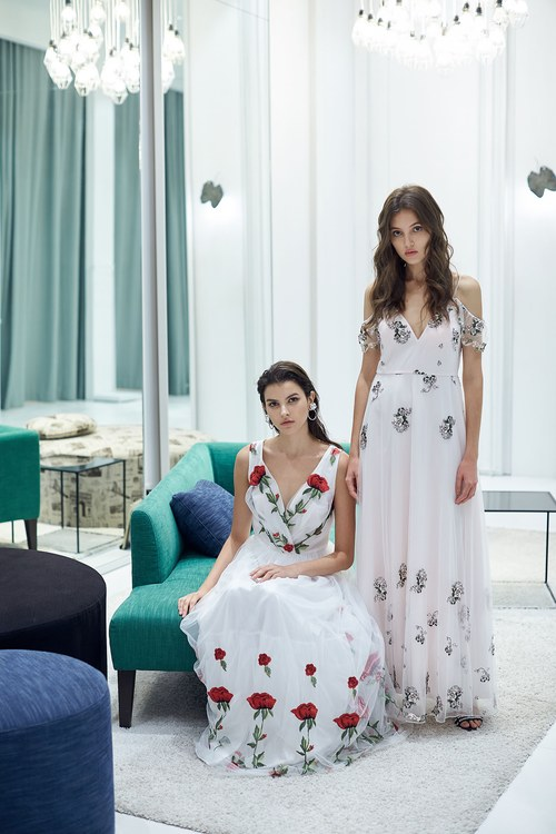 Graceful rose embroidery dress