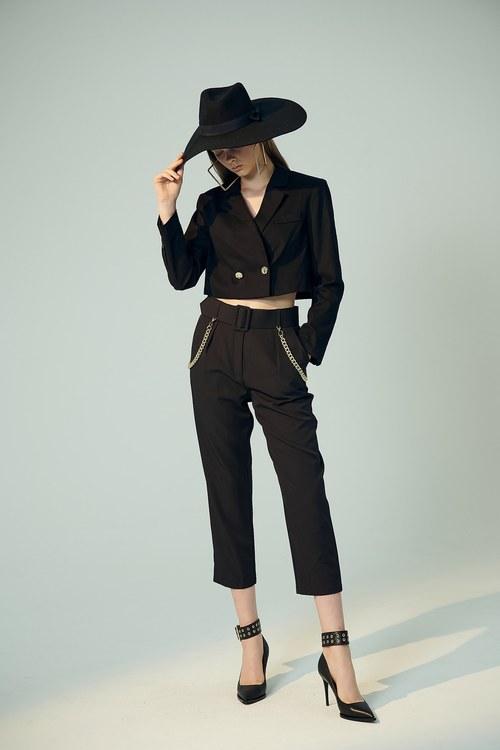 (XeiXei)High Waisted Trouser With Belt