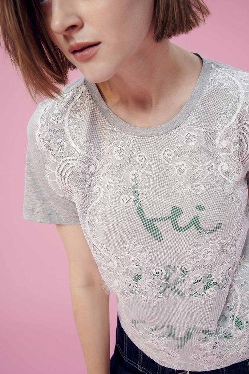 Stitched lace print T-shirt,t-shirt,t-shirt,lace