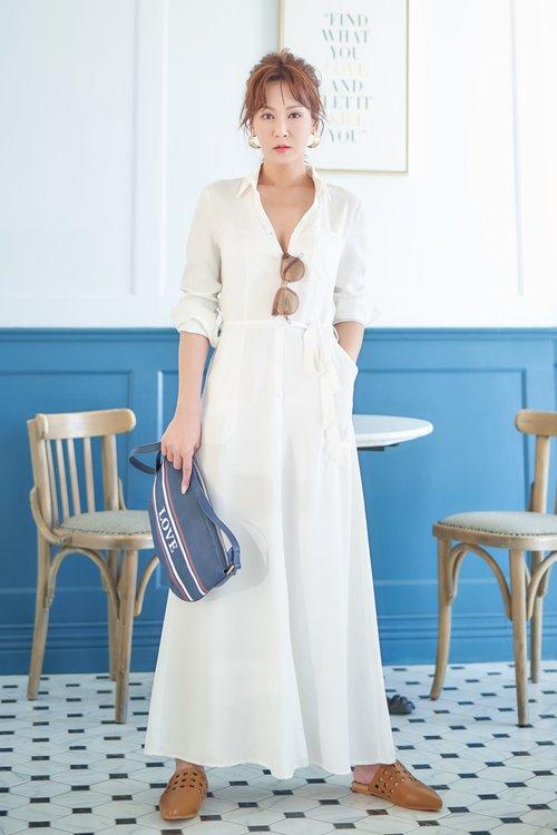 氣質綁帶流行時尚長袖洋裝