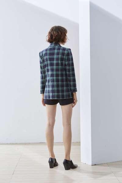 Lapel plaid woman fashion jacket