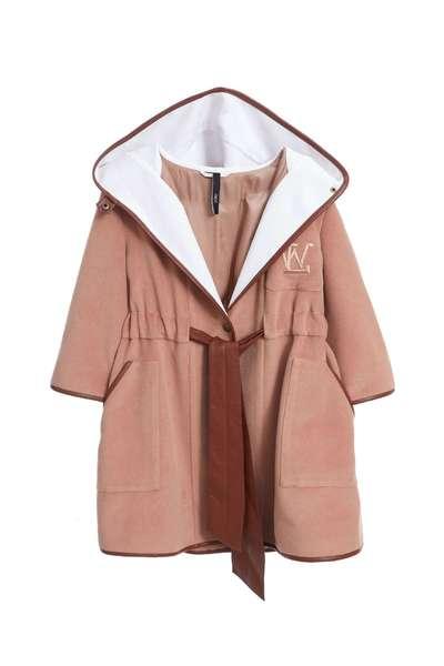 Khaki wool cape jacket