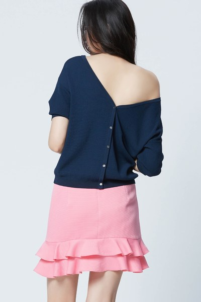 Stylish wide V neck button top