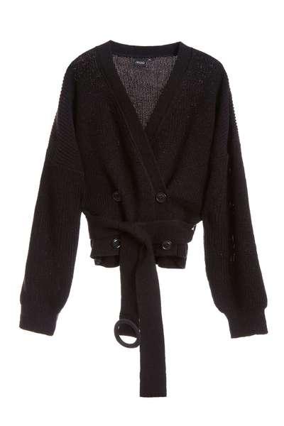 Open-cut strap long-sleeveknit jacket