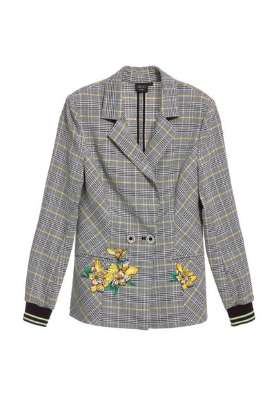 Classic checkered embroidery long Sleeve blazer