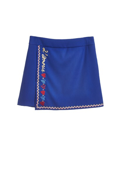 A line skirt with  embroidery