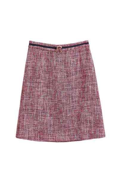 Blue/red wool skirt