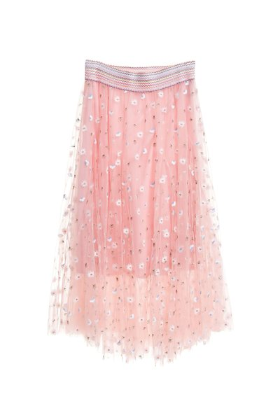 Embroidered breathable gauze long skirt
