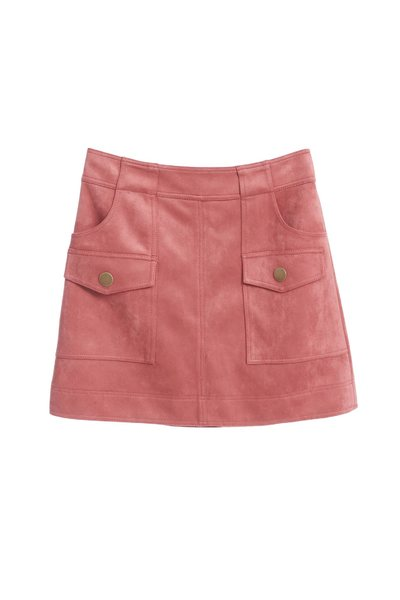 Smoky pink suede A-line skirt