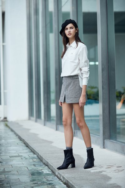 A Line Basic Slit Mini Skirt