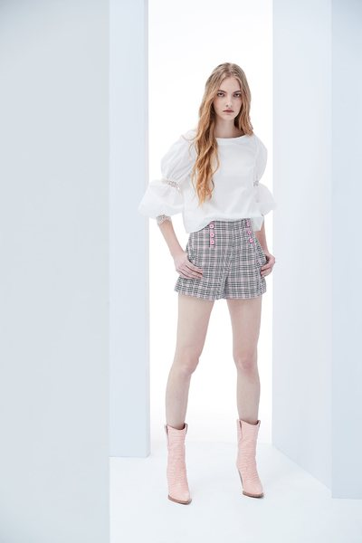 Plaid design shorts