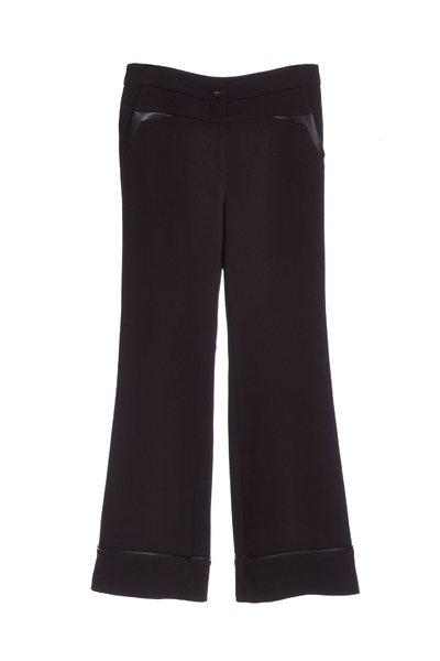 faux leather trim long pants