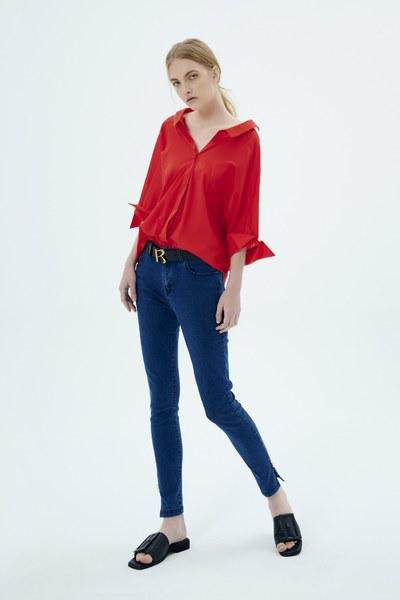 embellish with rhinestone denim trousers