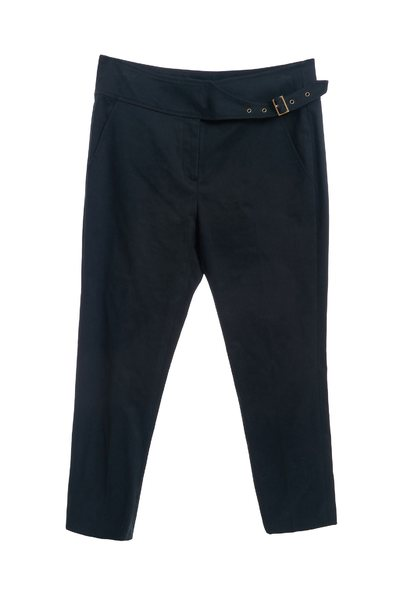 Ink-green narrow cropped pants