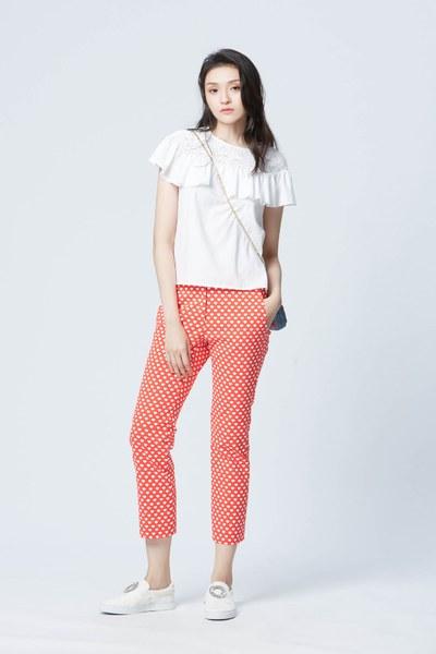 Vintage brick red slim fit pants
