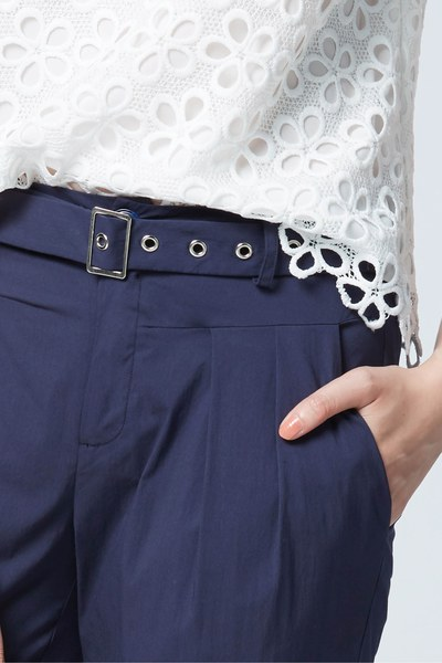 Navy blue pants with solid tailoring