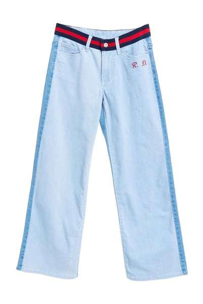 Two-color denim wide pants