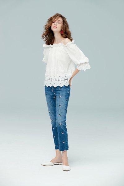 white wash flower denim pants