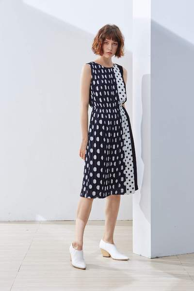 Stitching dot classic design dress