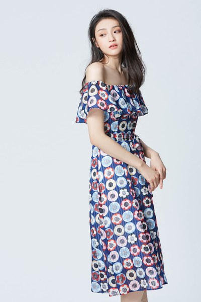 Abstract flower pattern maxi dress