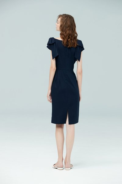 Folded waist design dress