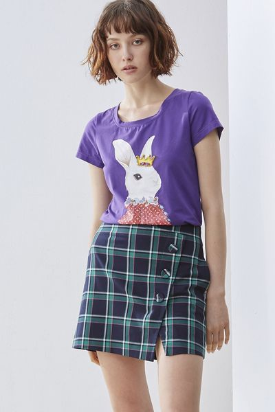 Playful Bunny Woman Cotton Short Sleeve Tshirt