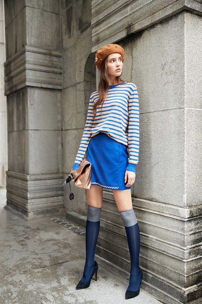 Striped hipster style knitted top