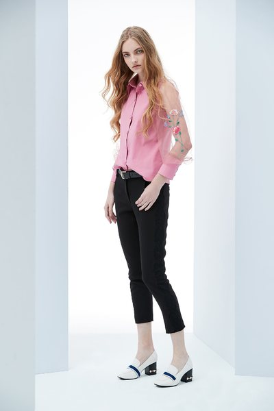 Embroidered woman design long sleeve shirt
