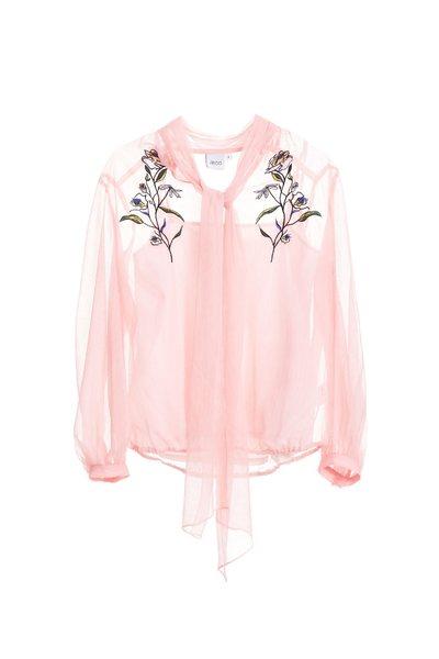 Embroidered chiffon shirts