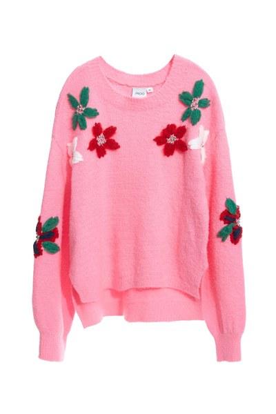 flower pattern pink ladies sweater blouse