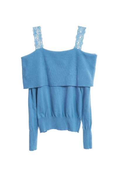 Lace off-shoulder knitting top