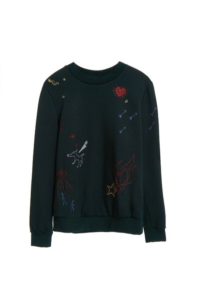 Ink green children's fun embroidered clothing