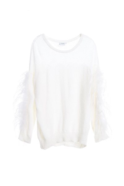 Ostrich fur with knitted top