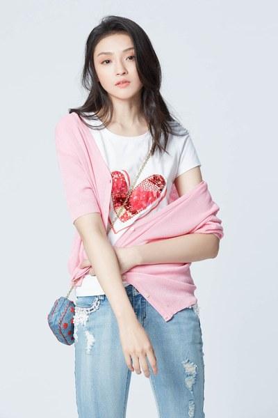 Sequin heart cotton T shirt