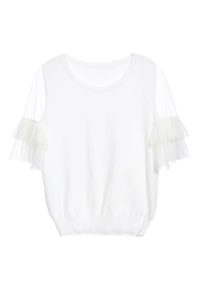 Romantic knitted top spliced with chiffon sleeves