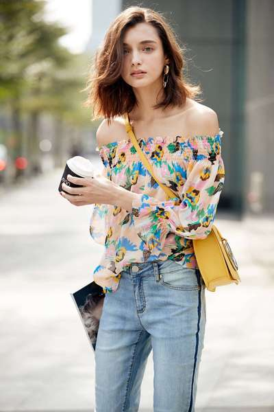 Floral chiffon long sleeve top
