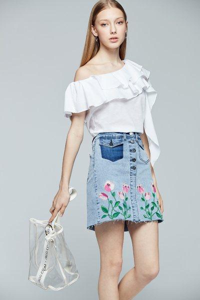 One shoulder fashion top