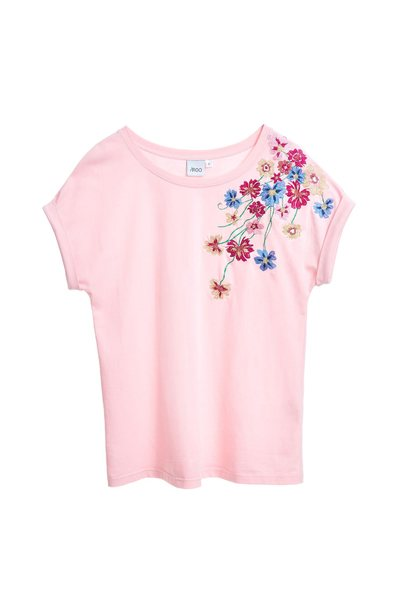 Elegant embroidered cotton T-shirt