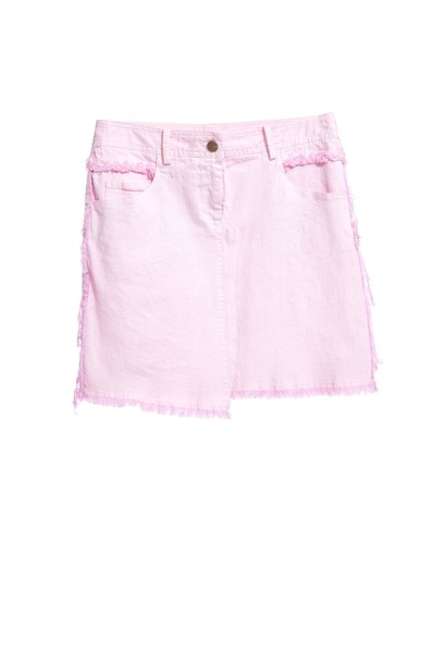 Pink denim skirt with embroidery