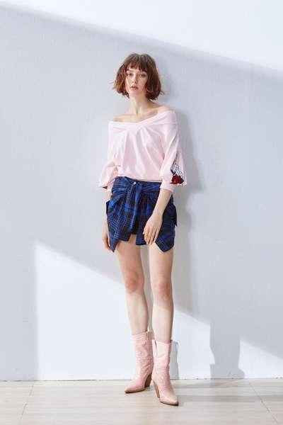 Plaid pop design skirt pants