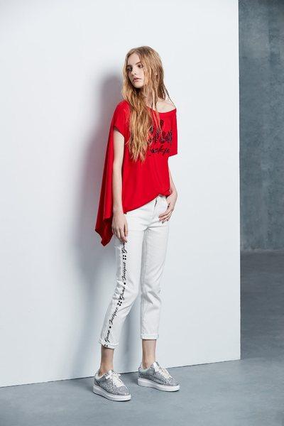 Slogan popular denim trousers
