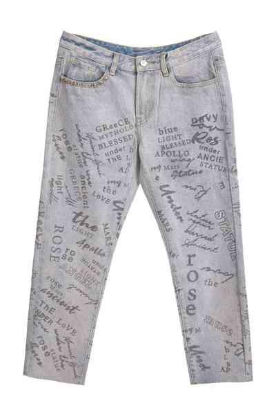 Mid-waist straight print jeans