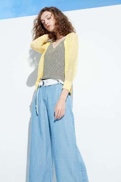 Striped V-neck knit vest