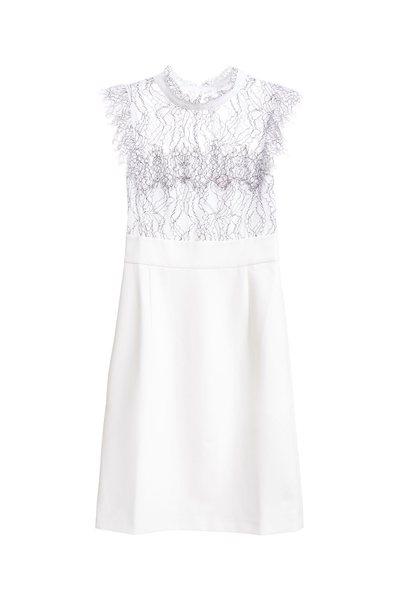Small stand-up collar stitching sleeveless dress